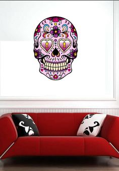 Sugar Skull 3  Vinyl Wall Decal Full Color Sticker by www.uBerDecals.ca
