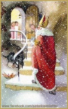 Sinterklaas loopt met speelgoed de trap De kinderen staan vol verwachting bij de deur te trappelen. Ik heb vallende sneeuw en een rand toegevoegd. DF.