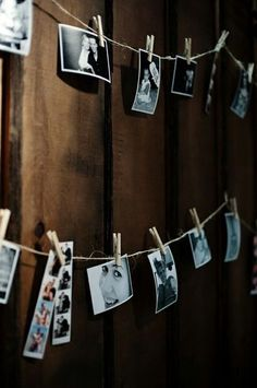 photo clothesline. Cool idea to hang wedding photo booth pics