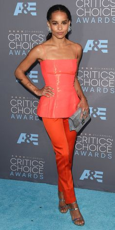 2016 Critics' Choice Awards:ZOE KRAVITZ The actress wore a coral strapless top and tomato red pants.