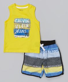 This Yellow & Blue Tank & Shorts - Infant, Toddler & Boys by Calvin Klein Jeans is perfect! #zulilyfinds