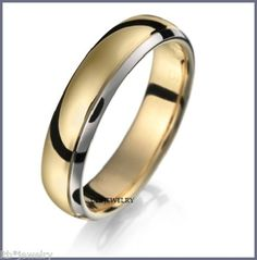 18k Two Tone Gold Mens Wedding Band Ring 5mm Ebay