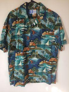e8475f0d Vintage RJC Magnum PI Aloha Hawaiian Shirt Size L teal blue Cotton Reyn  Spooner Paradise Found