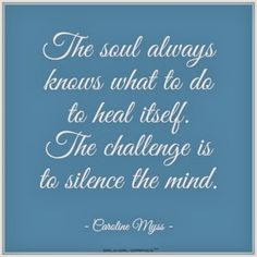 The should always know what to do to heal itself. The challenge is to silence the mind.