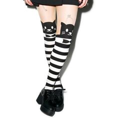 Monsieur Pounce Striped Tights (105 MXN) ❤ liked on Polyvore