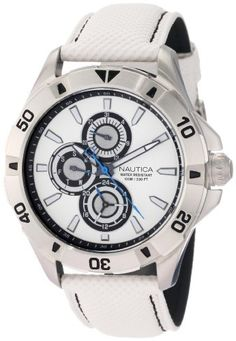 Nautica Men's N14577G NST 06 Multifunction White Leather Watch NAUTICA. $95.00. Quartz movement. Stainless-steel case. Durable mineral crystal protects watch from scratches. Multifunction movement. Water-resistant to 330 feet (100 M)