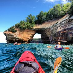 Is there a better way to fight the summer heat than getting out on the water? Kayaking Lake Superior at Pictured Rocks National Lakeshore in Michigan offers amazing views of unique rock formations and endless blue water. Oh, and there are beaches,. Michigan Vacations, Michigan Travel, Michigan Usa, Michigan Tourism, Lake Michigan, Minnesota, Lake Superior, Kayaks, Places To Travel