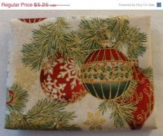 50% OFF New Year SALE - Cotton Fabric, Home Decor, Craft,Christmas Fat Quarter,Ornaments, Holiday Flourish by Kaufman, Fast Shipping