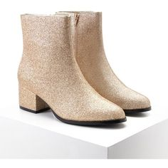 Forever21 Glitter Faux Leather Booties ($35) ❤ liked on Polyvore featuring shoes, boots, ankle booties, ankle boots, gold, short boots, platform booties, faux leather booties, glitter booties and block heel ankle boots