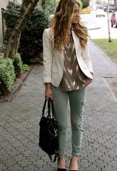 Pretty Sheer & Shiny chevron blouse, simple jacket & green cargo pants