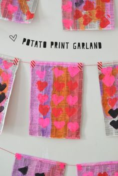 heart shaped potato stamped garland made by kids