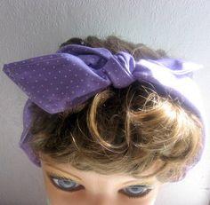 Hair Bandana, Hippie Hairband, Lavender Hair Accessory, Purple Hairband, RockaBilly HairBand by CrochetnMoreByAlida on Etsy