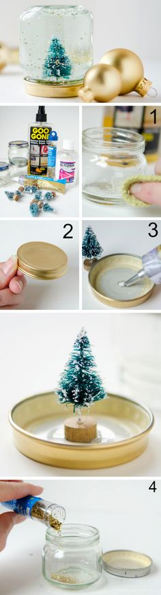 Baby Food Jar Snow Globes Tutorial | Click Pic for 22 DIY Christmas Decor Ideas on a Budget | Last Minute Christmas Decorating Ideas for the Home