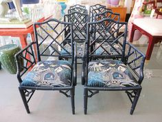 Set of 8 FAUX BAMBOO Chippendale Chairs Lacquered in Majolica Blue :)