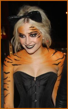 Halloween costume tiger animal makeup body paint. Totally adorable and unique animal costume. Pixie Lott.