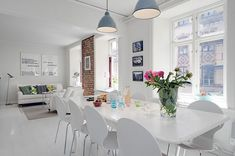 interior design dining room stylishly decorated with pale walls, white painted wooden floors and rustic brick walls White Apartment, Apartment Interior, Apartment Design, Duplex Apartment, Apartment Plans, Minimalist Apartment, Minimalist Interior, Apartment Ideas, White Painted Floors
