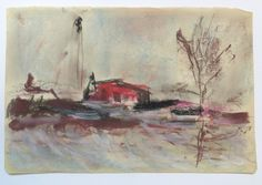 Midden Delfland, Woudse Polder Gouache, Painting, Painting Art, Paintings, Painted Canvas, Drawings