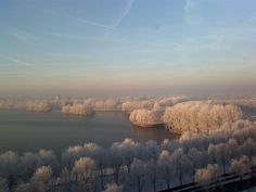 Prachtige foto van de Sloterplas in de winter!