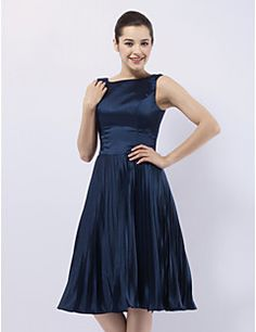 TS Couture Cocktail Party Wedding Party Dress - 1950s Celebrity Style A-line Princess Bateau Knee-length Stretch Satin with Pleats – AUD $ 357.86