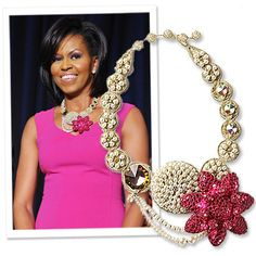 Michelle Obama wearing a beautiful statement necklace