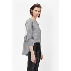 French Connection Autumn Effie Knits Jumper ($118) ❤ liked on Polyvore featuring tops, sweaters, grey mel multi, grey sweater, long sleeve tops, long sleeve sweaters, gray polka dot sweater and loose sweater