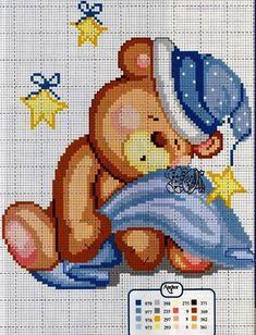 Sleeping bear x-stitch Cross Stitch For Kids, Cute Cross Stitch, Cross Stitch Animals, Modern Cross Stitch, Cross Stitch Kits, Cross Stitch Charts, Counted Cross Stitch Patterns, Cross Stitch Designs, Cross Stitch Embroidery