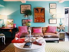 Teal and fushia...would love to have this living room.