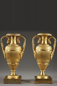 A pair of small ovoid ormolu Medicis vases decorated with alternating registers, finely ciseled with flutes and acanthus patterns. Theirs handles are decorated with rams' heads, scroll and f Vintage Furniture Design, Unique Furniture, Vases Decor, Art Decor, Style Empire, Ancient Greek Art, Big Vases, Urn Vase, Antiques Online