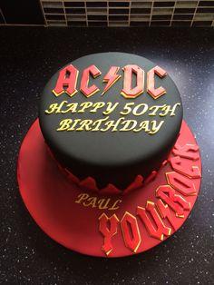 AC/DC themed birthday cake