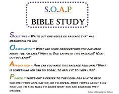 Quick and easy Bible study method. i like how this uses SOAP, just like medical write ups!  think of subjective, objective, assessment and plan!