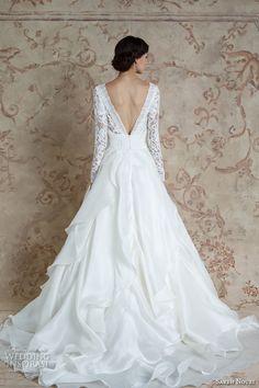 WEDDING DRESSES:sareh nouri fall 2016 bridal beautiful cascading layers a  line wedding dress long sleeves bateau neckline style mona lisa back