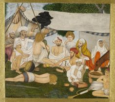 Party of Hindus in camp, opaque watercolour on paper, Mughal, probably Delhi, 19th century