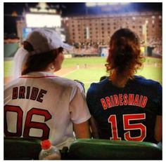 Baseball Game Bachelorette Party ... Clearly these ladies have the wrong team but cute idea!! They are even at Camden yards