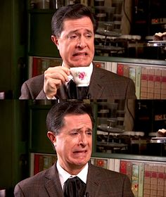 Stephen Colbert's British face... These were some of the best Colbert Report moments!!!