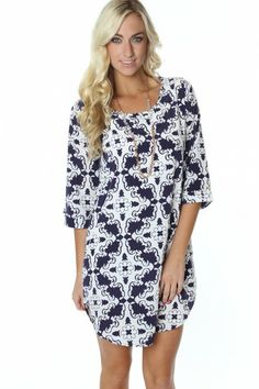 Navy Print Shift Dress via SophieandTrey.com - use code 'STMEGAN10' for 10% off a purchase of 50$ or more!