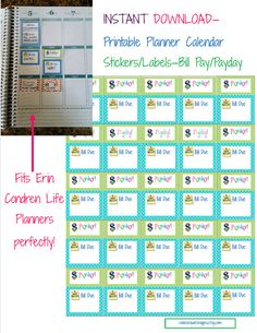 INSTANT DOWNLOAD Planner Calendar Label Square Stickers - Payday, Bills Due - Fits Erin Condren or Plum Paper Planners - Unlimited Printing.