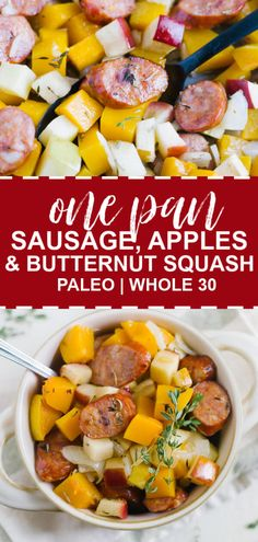 This is an easy, healthy weeknight meal! One Pan Sausage, Butternut Squash and Apples is the perfect, easy fall meal. Throw everything on a pan and bake it! It's also and Paleo approved! dinner fall One Pan Sausage, Butternut Squash and Apples Healthy Weeknight Meals, Easy Meals, Healthy Meals For One, Clean Eating Snacks, Healthy Eating, Healthy Cooking, Recetas Whole30, Fall Dinner Recipes, Whole 30 Recipes