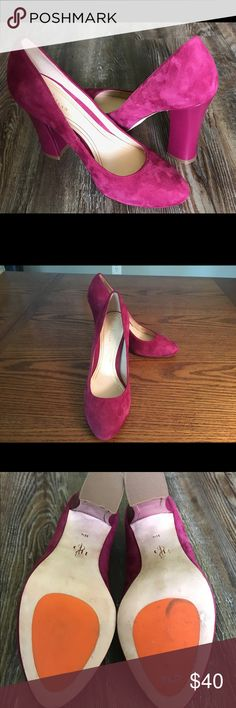 Cole Haan Raspberry Suede Pumps Beautiful raspberry colored soft suede pump. Comfortable and stylish for a day at the office or night out. 4 inch heel. Good condition. Patent heel. Size 6B. Cole Haan Shoes Heels