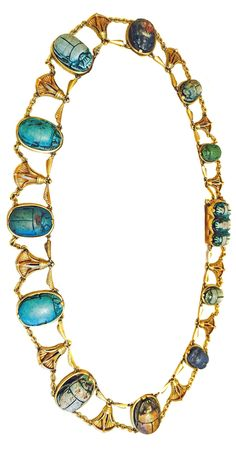 An Egyptian Revival gold and antique steatite scarab necklace, R.H. Blanchard, Cairo, circa 1900. Set with antique scarabs from 1,500 B.C. - 966 B.C. Original certificate with description of each scarab. #Blanchard #EgyptianRevival #necklace