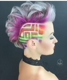 Square maze undercut and rainbow hair color idea for short hair Funky Hairstyles, Pretty Hairstyles, Hairstyle Ideas, Ladies Hairstyles, Hair And Beauty, Shaved Hair Designs, Corte Y Color, Hair Tattoos, Hair Colorist