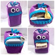 Lunch Monsters - Lunch Bag - Crochet pattern (not free) More