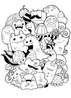 Coloring pages · free kawaii doodle printable Doodle Monster, Monster Drawing, Cute Doodle Art, Doodle Art Designs, Doodle Art Drawing, Cute Coloring Pages, Doodle Coloring, Coloring Books, Colouring
