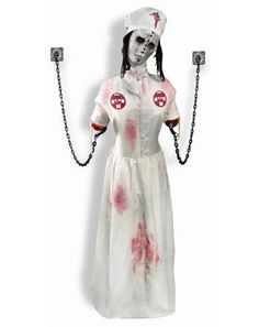 Convulsing Nurse Animated Decoration found at the spirit Halloween store, this will add to the creep factor. Halloween Spirit Store, Asylum Halloween, Soirée Halloween, Halloween School Treats, Halloween Items, Halloween Projects, Holidays Halloween, Vintage Halloween, Halloween Decorations