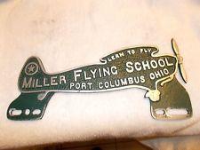 Car Club plaque Miller Flying License Topper Aviation Ohio Piper Cub Cessna Aero