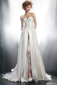 gemy maalouf bridal winter 2015 strapless wedding dress style 4145 illusion sheer lace pant 3972