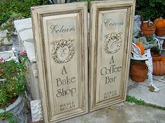 Don't throw away those cabinet doors! Make signs or wall decor.  <--I have some stored.  Hmm...