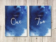 Navy Blue Watercolour Wedding Table Numbers // by NorthSaltStudio