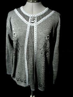 Nwt JON & ANNA NY Metallic Sweater top women S,M,L Gray Black long sleeve Dressy #JonAnnaNewYork #Sweaterpulloverpeasantscoopmetallictop