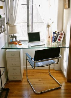 Tiny-Ass Apartment: Narrow it down: 20 inspiring narrow home offices. I really like the glass desk one pictured! Tiny Office, Small Space Office, Office Nook, Home Office Space, Home Office Design, Corner Office, Office Workspace, Tiny Spaces, Small Apartments