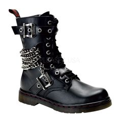 ! ! 1 Mens Black Punk Boots: Mid-Calf Punk Boots (Sizes 4-14)